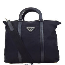 Authentic PRADA Logos 2Way Shoulder Hand Bag Nylon Leather Black Italy 02U790