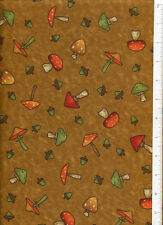 debbie mumm ~ FALL FOREST POLKA DOT MUSHROOM ~ acorn autumn fabric brown mustard