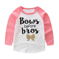 Baby Kids Boys Girls Long Sleeve Letter Printed T-Shirt Tops Tees Outfits 100&
