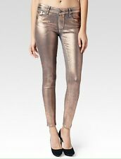 "Paige VERDUGO Ultra Skinny Mid Rise Stretch Jeans Coated ""Rose Gold"" Sz. 27 NWT"