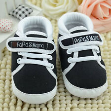 Black Infant Toddler Baby Boys Girl's Kids Soft Sole Shoes Sneaker Newborn 6-12M
