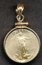 2000 $5 GOLD AMERICAN EAGLE COIN PENDANT IN 14K BEZEL & BALE NO RESERVE 1/10 OZ