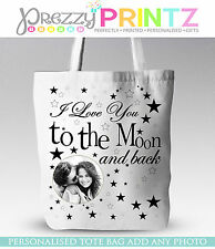 PERSONALISED PHOTO I LOVE YOU TO THE MOON &BACK CHRISTMAS TOTE SHOPPING BAG GIFT