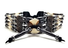 Handmade Traditional 4 Row Batik Buffalo Bone Hairpipe Tribal Choker Necklace