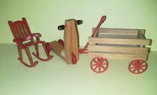 Dollhouse Miniature Wood Wagon And Scooter Metal Wheels And Rocking Chair