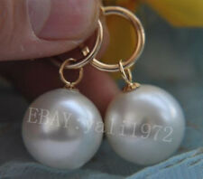 100% natural AAA 12-13mm south seas white pearl earrings 14K yellow gold