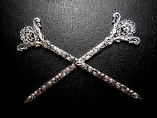 SILVER THAI HAIR STICKS antiqued filigree kanzashi pheasant bird bun pins1 PAIR