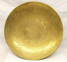 """Huge Antique Chinese Export Brass Etched Dragon Bowl 12"""" Gong Bell Singing Water"""