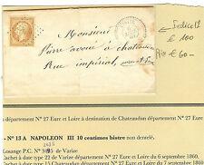 LETTRE DU 6 - 9 - 1860 CACHET PERLE VARIZE N° 13 A OBLI. P.C 3495