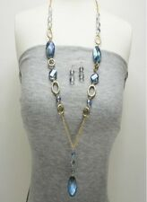 Gold and Blue Dangling Beads Necklace Set