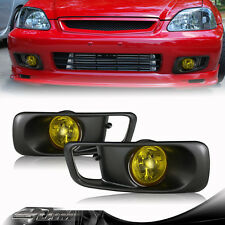 99-00 Honda Civic JDM Yellow Lense Gun Metal Cover Fog Light Lamp Complete Kit