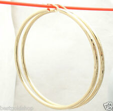 "3"" 75mm Large Diamond Cut Hoop Earrings REAL 10K Yellow Gold 3mm FREE SHIPPING"