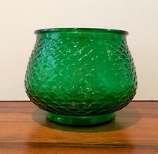 Vintage E.O. Brody Emerald Green FISH SCALES Glass Florist Vase Planter Pot USA