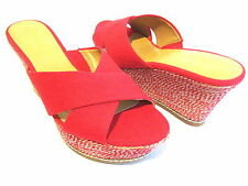 NINE WEST HAVAHA RED CANVAS PLATFORM WEDGE SANDAL WOMAN SHOE SIZE 10 M