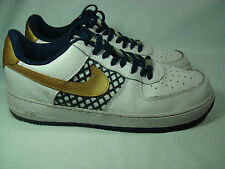 Nike Air Air Force 1 Tennis Shoes White with Gold Swoosh 10.5