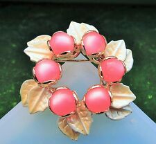 Pink Jelly Belly Lucite wreath beige enamel rhodium plated   brooch pin   id