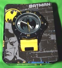 BATMAN DC COMICS YELLOW RUBBER STRAP ANALOG WATCH 030506315926 NEW IN METAL CASE