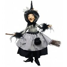 Witches of Pendle - Felicity Hanging & Sitting on Broom (Grey) 45cm