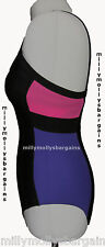 New Womens Marks and Spencer Black Pink Purple Swimming Costume Size 8