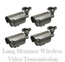 FOUR LONG RANGE 1700FT WIRELESS VIDEO NIGHTVISION CAMERAS - FULL CCTV SYSTEM DVR