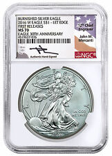 2016-W Burnished American Silver Eagle NGC MS70 FR Mercanti Label SKU44800