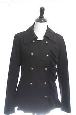 DKNY Donna Karan Black Wool Coat Jacket Blazer Peacoat Gothic Military S 4