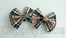 LADIES GIRLS HANDMADE BEIGE RED & BLACK TARTAN CHECK SOFT FABRIC SHOE CLIPS BOW