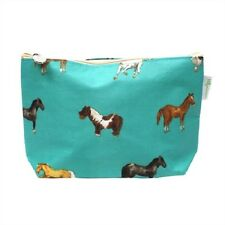Milly Green Horse Design Teal Cosmetic Make up Wash Travel Bag Equestrian Gift