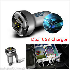 Car 3.1A Dual USB Smart Phone Fast Charging Charger Adapter With Voltage Current