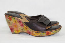 BORN SANDALS FORAL WEDGE SLIDE WOMEN'S SIZE 9/40.5M BROWN ~LEATHER~