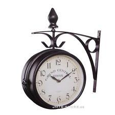 Doppelseitige Bahnhofsuhr Retro Antik Design Elegante Optik Schmiedeeisern Uhr