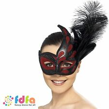COLOMBINA FEATHER MASQUERADE CARNIVAL EYE MASK HALLOWEEN - ladies fancy dress