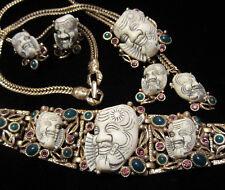 Rare Vtg Signed Selro Goldtone Jeweled Devil Noh Mask Necklace Earrings Bracelet