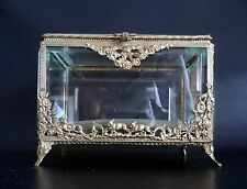 Large French Antique Beveled Glass Jewelry Display Box – 1870's
