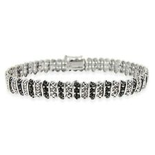 925 Sterling Silver Treated Black Diamond Accent Tennis Bracelet