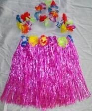 KIDS PURPLE HULA SKIRT / HAWAIIAN LUAU SET flowered leis tropical party skirts