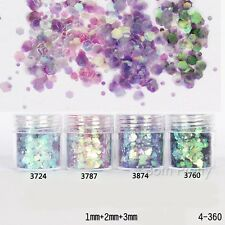 4boxes/set 10ml Glitter Powder Tips Pink Purple 1-3mm Mixed Powder Nail Decor