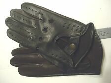 Men's Fast & Furious Black/Brown Genuine Leather Driving Gloves, M
