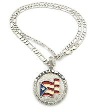 "New Iced Out PUERTO RICO Pendant &5mm/24"" Figaro Chain Hip Hop Necklace XSP085"