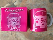 VW Campervan Ceramic Mug Pink Glitter Officially licensed product Boxed