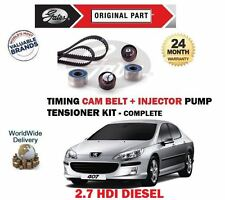 FOR PEUGEOT 407 2.7 HDI 24v 2005-2010 TIMING CAM + INJECTOR BELT TENSIONER KIT