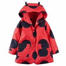New Carter's Red Polka Dot Ladybug Hooded RainCoat Jacket size 5 6  NWT