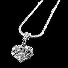 Firegirl Necklace  Firegirl  Crystal Heart charm Necklace Female Firefighter