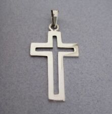 Mexican 925 Silver Taxco Cut Out Classic Design Shiny Religious Cross Pendant