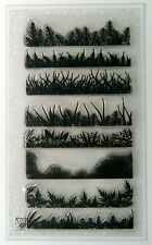 "Clear Stamps Lot (4""x7"") Fern and Grass Borders FLONZ 003 vintage rubber stamp"