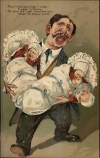 Overwhelmed Father w/ Triplet Babies Caricature Art PFB Postcard c1910