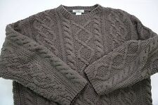J Crew Men's Hand Knit Fisherman Cableknit Crew Neck 100% Wool Sweater Large
