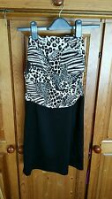 Women's Ladies Tiger print / Black dress size M , strapless  BRAND NEW