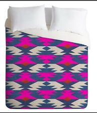 DENY DESIGNS Holli Zollinger Diamond Killim DUVET COVER  KING Pink Blue New