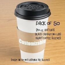 50-Pack Paper Coffee / Hot Cup 20 oz w/ Cappuccino Lids and Customizable Sleeves